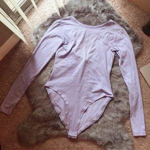 NWT Forever 21 lilac/lavender long sleeve bodysuit